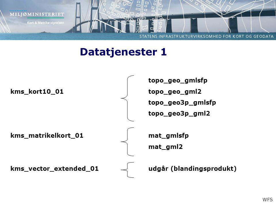 Datatjenester 1 WFS topo_geo_gmlsfp kms_kort10_01 topo_geo_gml2 topo_geo3p_gmlsfp topo_geo3p_gml2 kms_matrikelkort_01mat_gmlsfp mat_gml2 kms_vector_extended_01udgår (blandingsprodukt)
