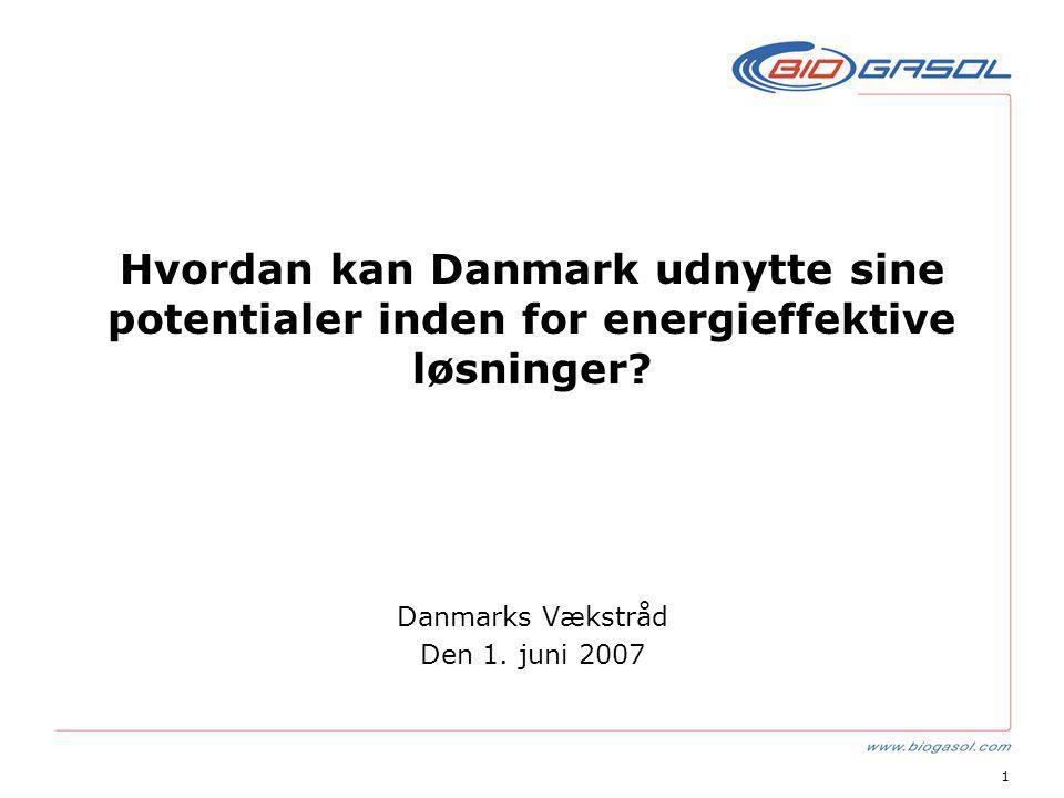 1 Hvordan kan Danmark udnytte sine potentialer inden for energieffektive løsninger.