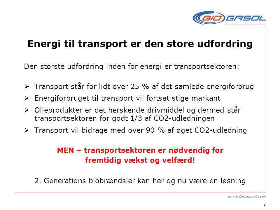 3 Energi til transport er den store udfordring Den største udfordring inden for energi er transportsektoren:  Transport står for lidt over 25 % af det samlede energiforbrug  Energiforbruget til transport vil fortsat stige markant  Olieprodukter er det herskende drivmiddel og dermed står transportsektoren for godt 1/3 af CO2-udledningen  Transport vil bidrage med over 90 % af øget CO2-udledning MEN – transportsektoren er nødvendig for fremtidig vækst og velfærd.