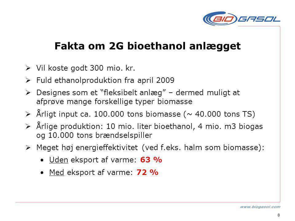 8 Fakta om 2G bioethanol anlægget  Vil koste godt 300 mio.