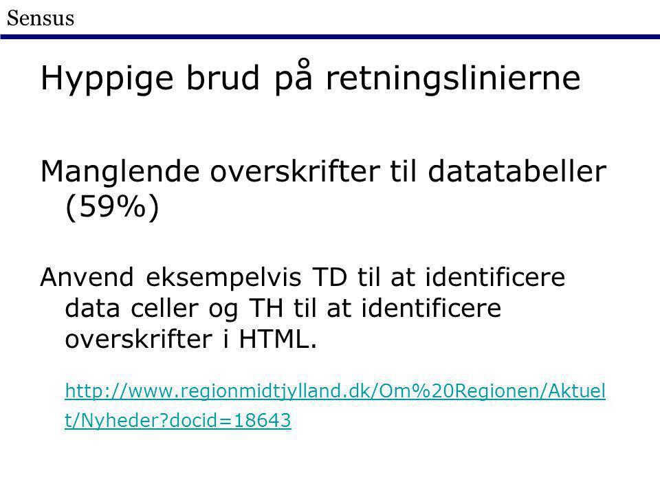 Sensus Hyppige brud på retningslinierne Manglende overskrifter til datatabeller (59%) Anvend eksempelvis TD til at identificere data celler og TH til at identificere overskrifter i HTML.