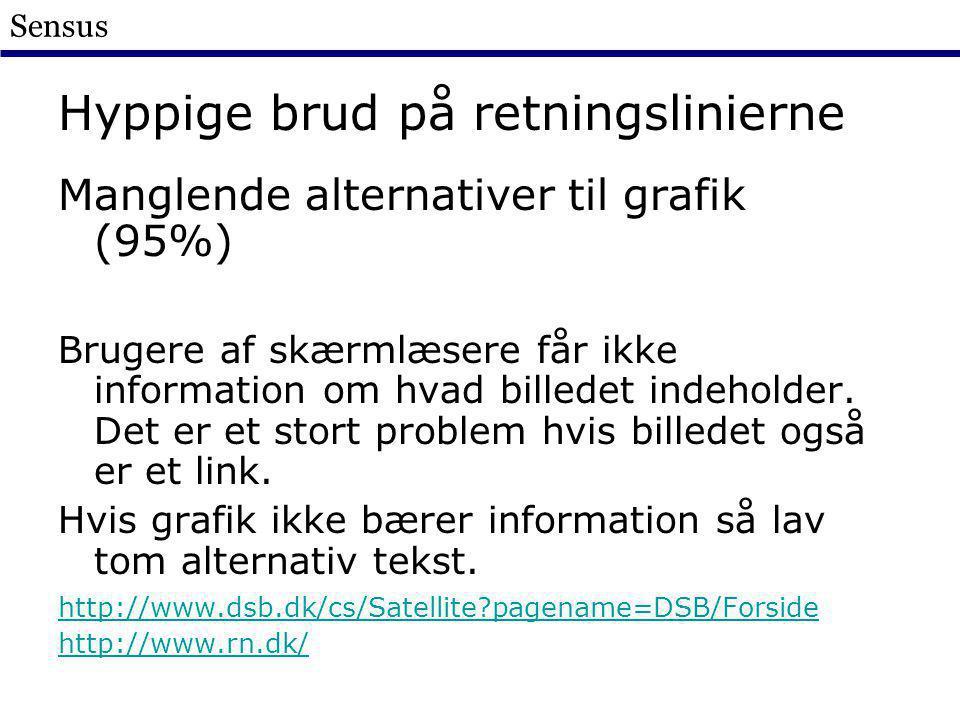 Sensus Hyppige brud på retningslinierne Manglende alternativer til grafik (95%) Brugere af skærmlæsere får ikke information om hvad billedet indeholder.