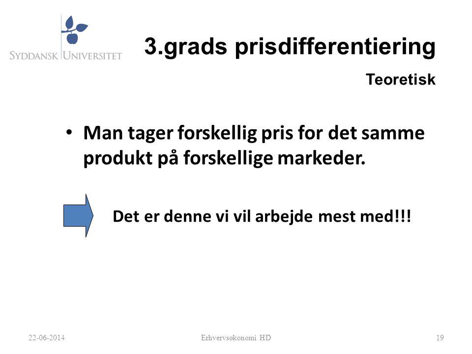 3.grads prisdifferentiering Teoretisk • Man tager forskellig pris for det samme produkt på forskellige markeder.
