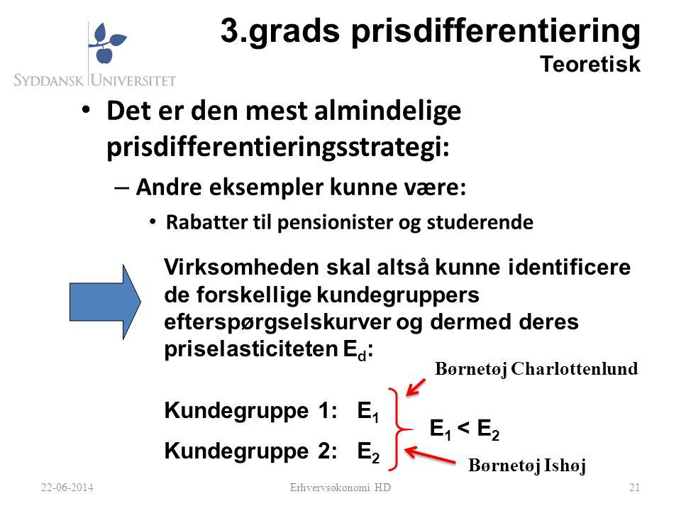 3.grads prisdifferentiering Teoretisk • Det er den mest almindelige prisdifferentieringsstrategi: – Andre eksempler kunne være: • Rabatter til pension