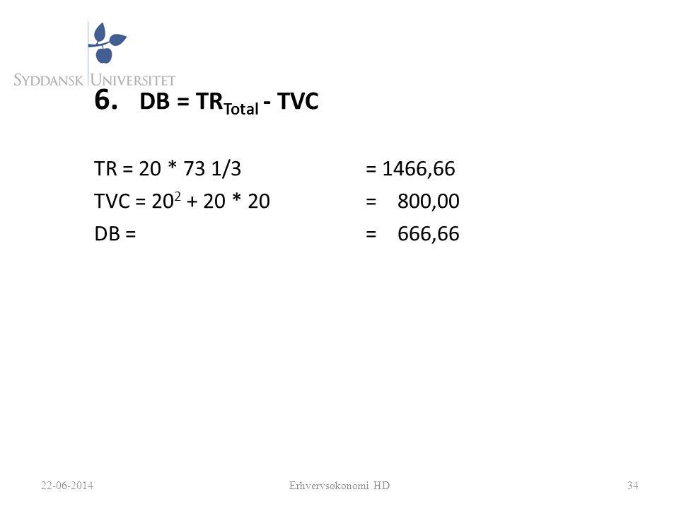 6. DB = TR Total - TVC TR = 20 * 73 1/3= 1466,66 TVC = 20 2 + 20 * 20= 800,00 DB = = 666,66 3422-06-2014Erhvervsøkonomi HD