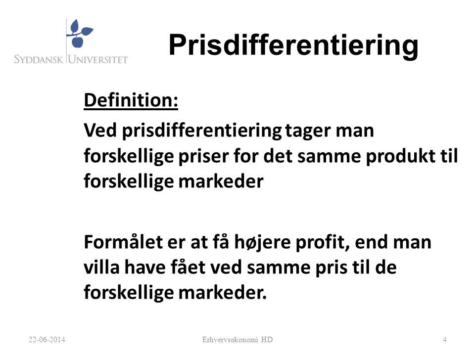 Prisdifferentiering Definition: Ved prisdifferentiering tager man forskellige priser for det samme produkt til forskellige markeder Formålet er at få højere profit, end man villa have fået ved samme pris til de forskellige markeder.