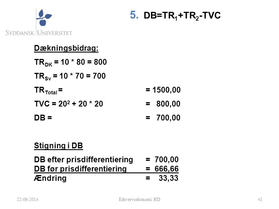 41 5. DB=TR 1 +TR 2 -TVC Dækningsbidrag: TR DK = 10 * 80 = 800 TR Sv = 10 * 70 = 700 TR Total == 1500,00 TVC = 20 2 + 20 * 20= 800,00 DB = = 700,00 St