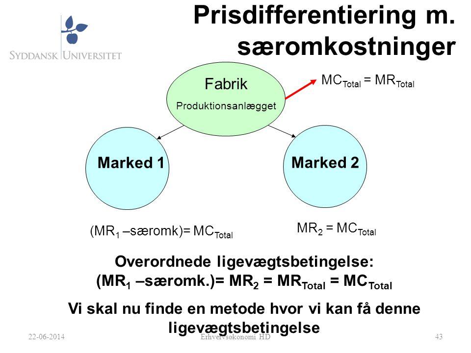 Prisdifferentiering m. særomkostninger 43 Fabrik Produktionsanlægget Marked 1 Marked 2 MC Total = MR Total (MR 1 –særomk)= MC Total MR 2 = MC Total Ov