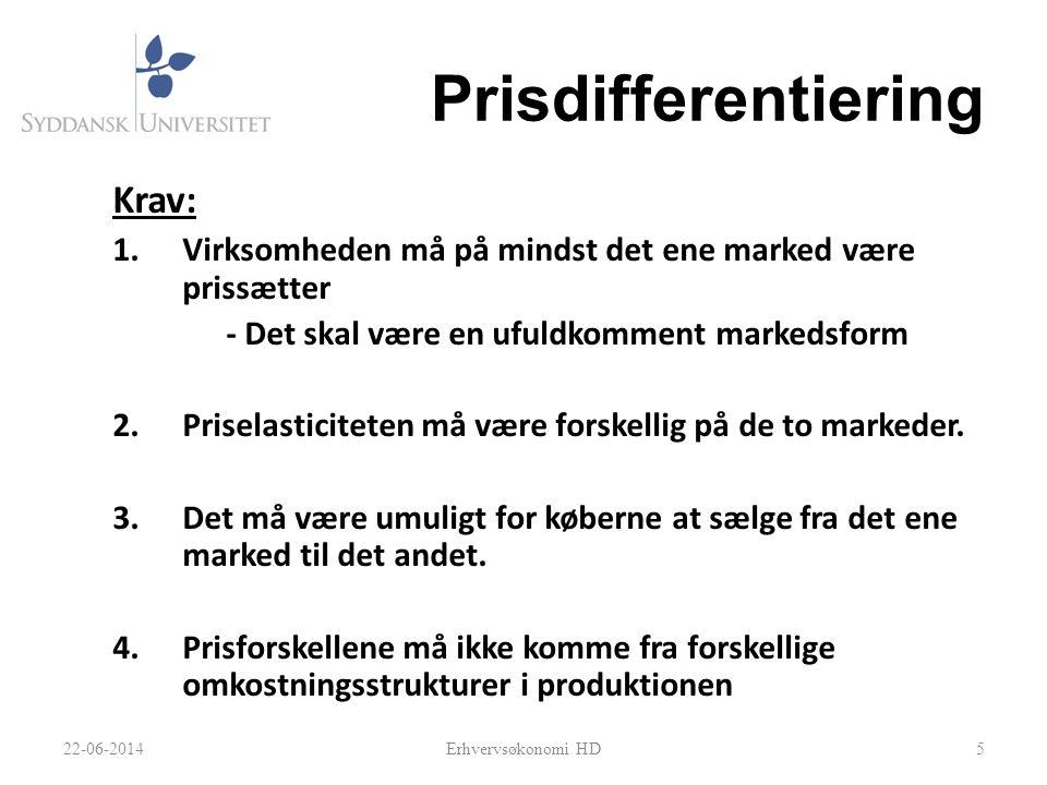 Prisdifferentiering Krav: 1.Virksomheden må på mindst det ene marked være prissætter - Det skal være en ufuldkomment markedsform 2.Priselasticiteten må være forskellig på de to markeder.