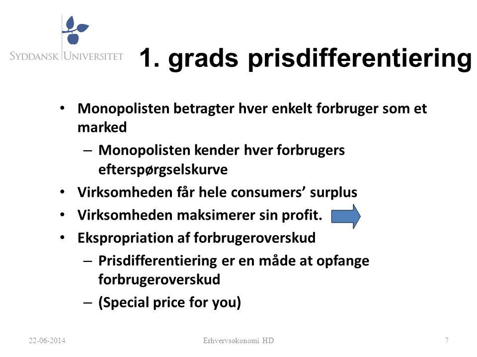1. grads prisdifferentiering • Monopolisten betragter hver enkelt forbruger som et marked – Monopolisten kender hver forbrugers efterspørgselskurve •