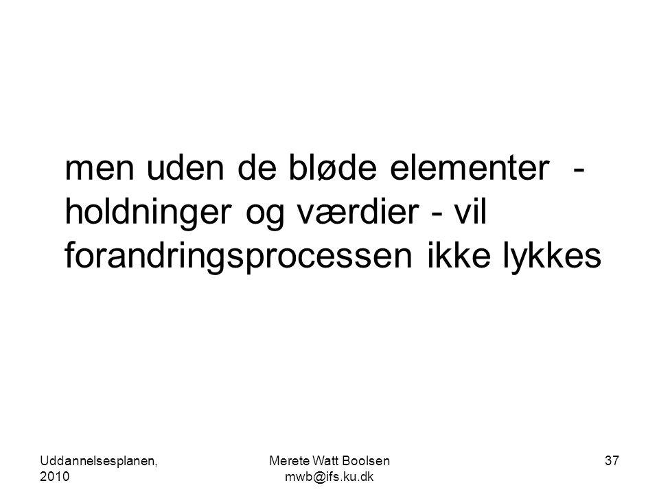 Uddannelsesplanen, 2010 Merete Watt Boolsen mwb@ifs.ku.dk 37 men uden de bløde elementer - holdninger og værdier - vil forandringsprocessen ikke lykkes