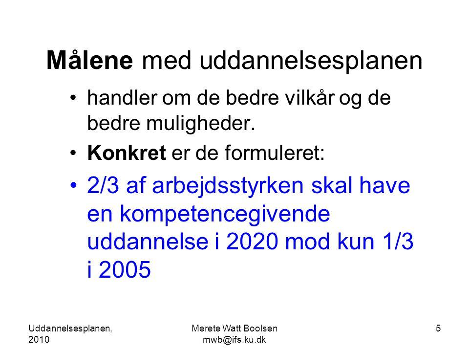 Uddannelsesplanen, 2010 Merete Watt Boolsen mwb@ifs.ku.dk 5 Målene med uddannelsesplanen •handler om de bedre vilkår og de bedre muligheder.
