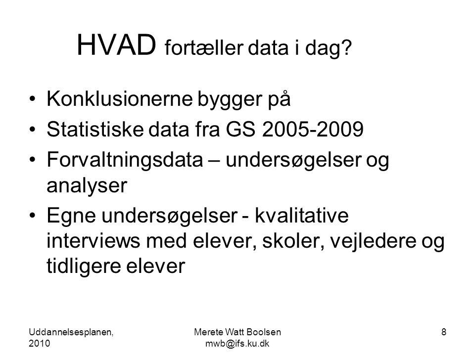 Uddannelsesplanen, 2010 Merete Watt Boolsen mwb@ifs.ku.dk 8 HVAD fortæller data i dag.