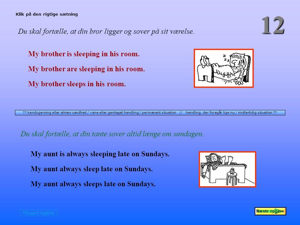 Næste opgave 12 Du skal fortælle, at din bror ligger og sover på sit værelse.