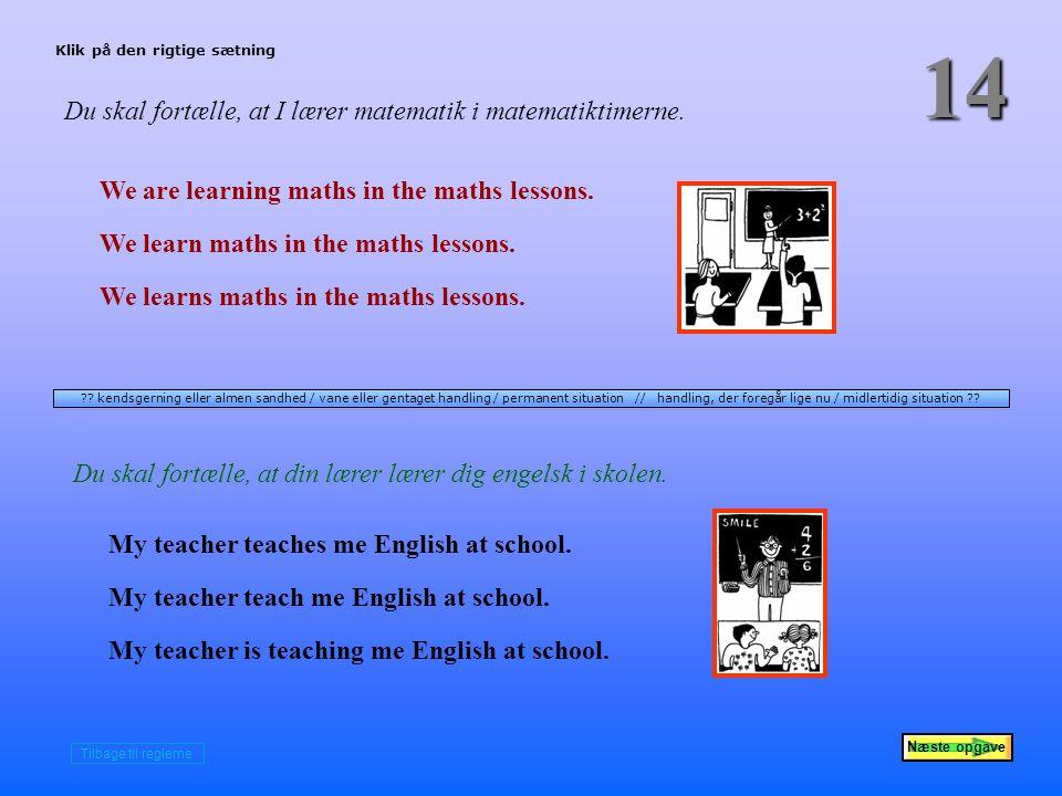 Næste opgave 14 Du skal fortælle, at I lærer matematik i matematiktimerne.