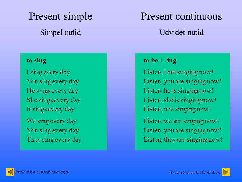 Present simple Simpel nutid to sing I sing every day You sing every day He sings every day She sings every day It sings every day We sing every day You sing every day They sing every day Present continuous Udvidet nutid to be + -ing Listen, I am singing now.
