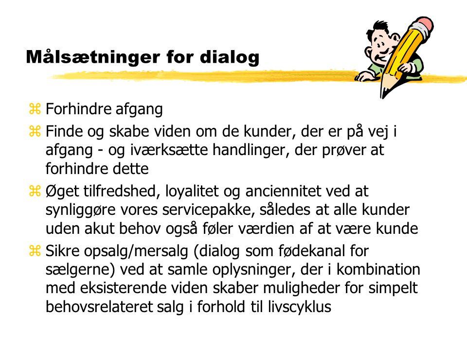 Målsætninger for dialog zForhindre afgang zFinde og skabe viden om de kunder, der er på vej i afgang - og iværksætte handlinger, der prøver at forhindre dette zØget tilfredshed, loyalitet og anciennitet ved at synliggøre vores servicepakke, således at alle kunder uden akut behov også føler værdien af at være kunde zSikre opsalg/mersalg (dialog som fødekanal for sælgerne) ved at samle oplysninger, der i kombination med eksisterende viden skaber muligheder for simpelt behovsrelateret salg i forhold til livscyklus