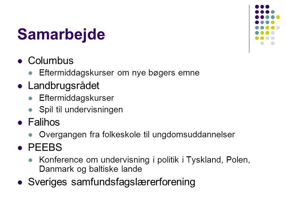 Samarbejde  Columbus  Eftermiddagskurser om nye bøgers emne  Landbrugsrådet  Eftermiddagskurser  Spil til undervisningen  Falihos  Overgangen fra folkeskole til ungdomsuddannelser  PEEBS  Konference om undervisning i politik i Tyskland, Polen, Danmark og baltiske lande  Sveriges samfundsfagslærerforening