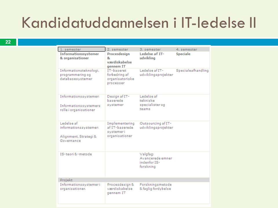 Kandidatuddannelsen i IT-ledelse II 22