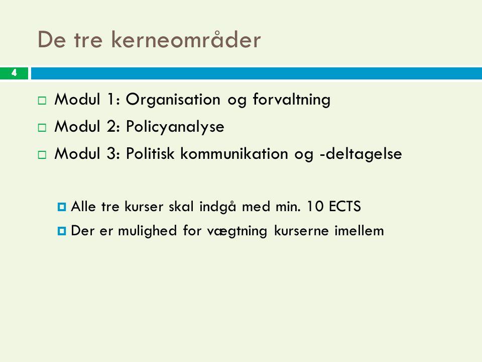 4 De tre kerneområder 4  Modul 1: Organisation og forvaltning  Modul 2: Policyanalyse  Modul 3: Politisk kommunikation og -deltagelse  Alle tre kurser skal indgå med min.
