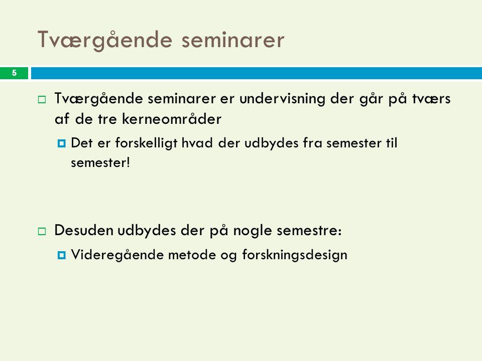 5 Tværgående seminarer 5  Tværgående seminarer er undervisning der går på tværs af de tre kerneområder  Det er forskelligt hvad der udbydes fra semester til semester.