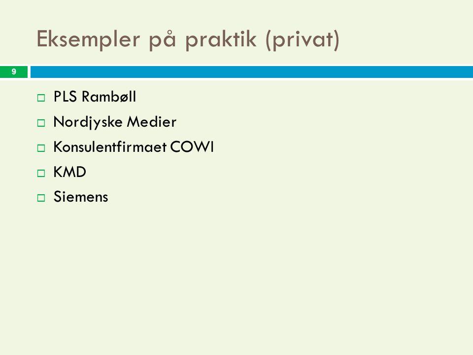 9 Eksempler på praktik (privat)  PLS Rambøll  Nordjyske Medier  Konsulentfirmaet COWI  KMD  Siemens