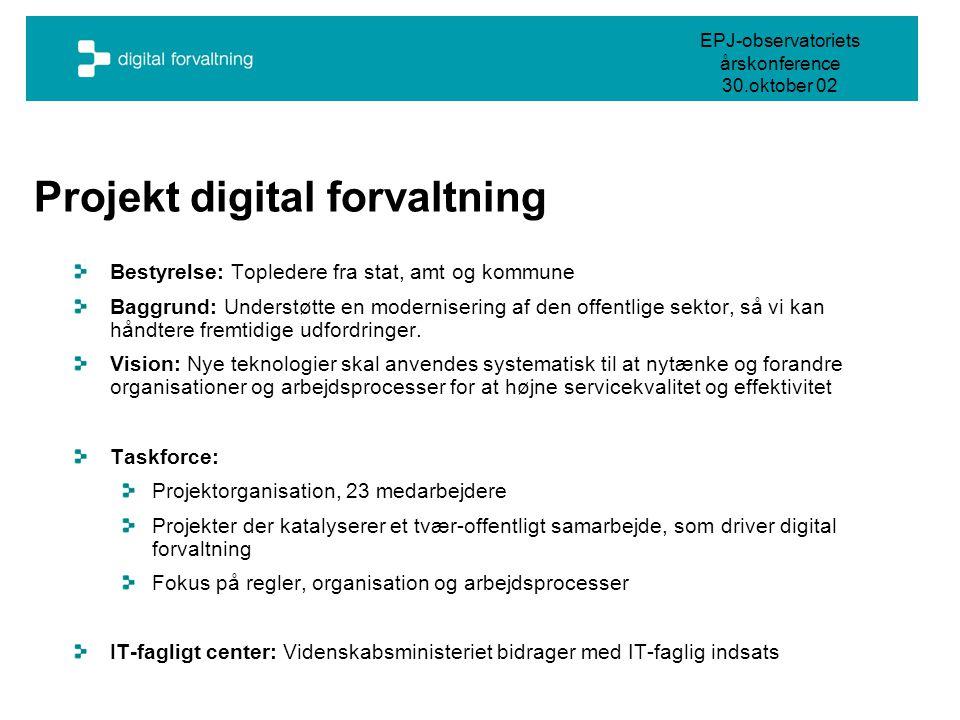 EPJ-observatoriets årskonference 30.oktober 02 Projekt digital forvaltning Bestyrelse: Topledere fra stat, amt og kommune Baggrund: Understøtte en modernisering af den offentlige sektor, så vi kan håndtere fremtidige udfordringer.