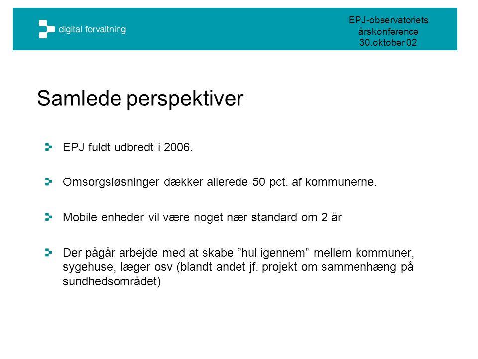 EPJ-observatoriets årskonference 30.oktober 02 Samlede perspektiver EPJ fuldt udbredt i 2006.