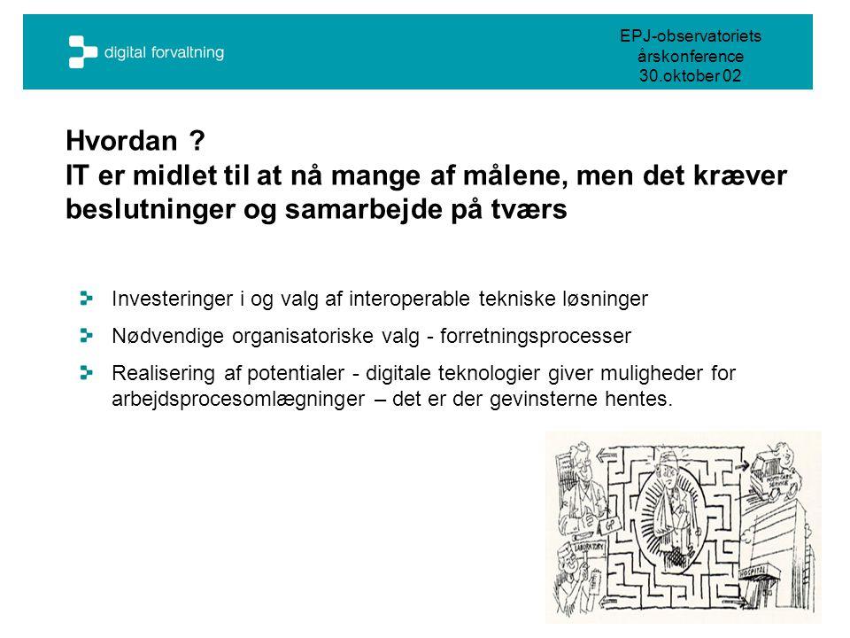 EPJ-observatoriets årskonference 30.oktober 02 Hvordan .