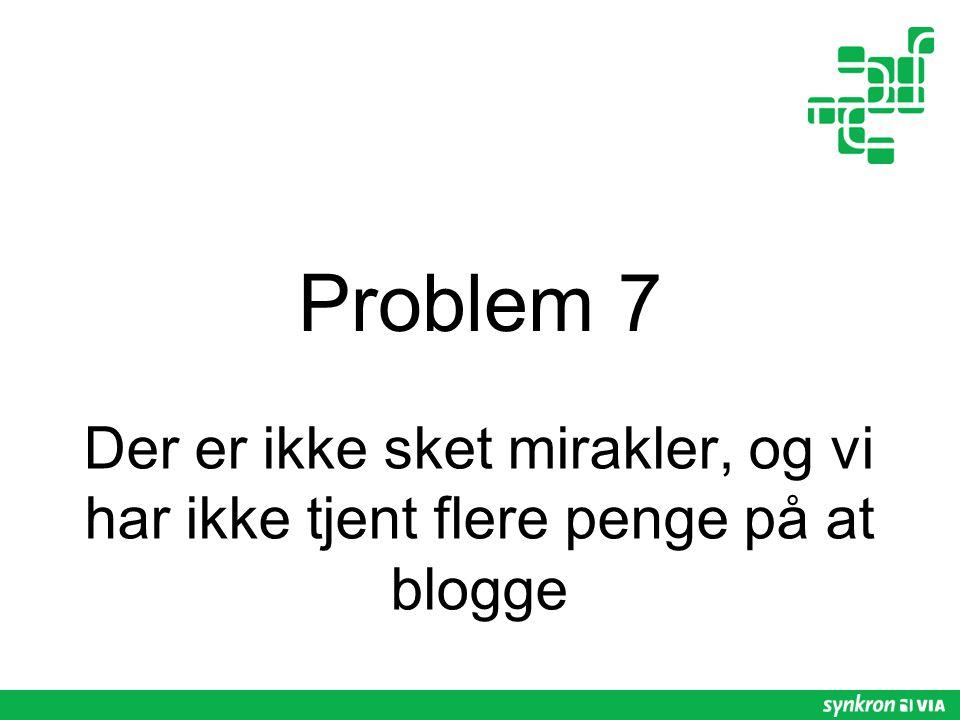 Problem 7 Der er ikke sket mirakler, og vi har ikke tjent flere penge på at blogge