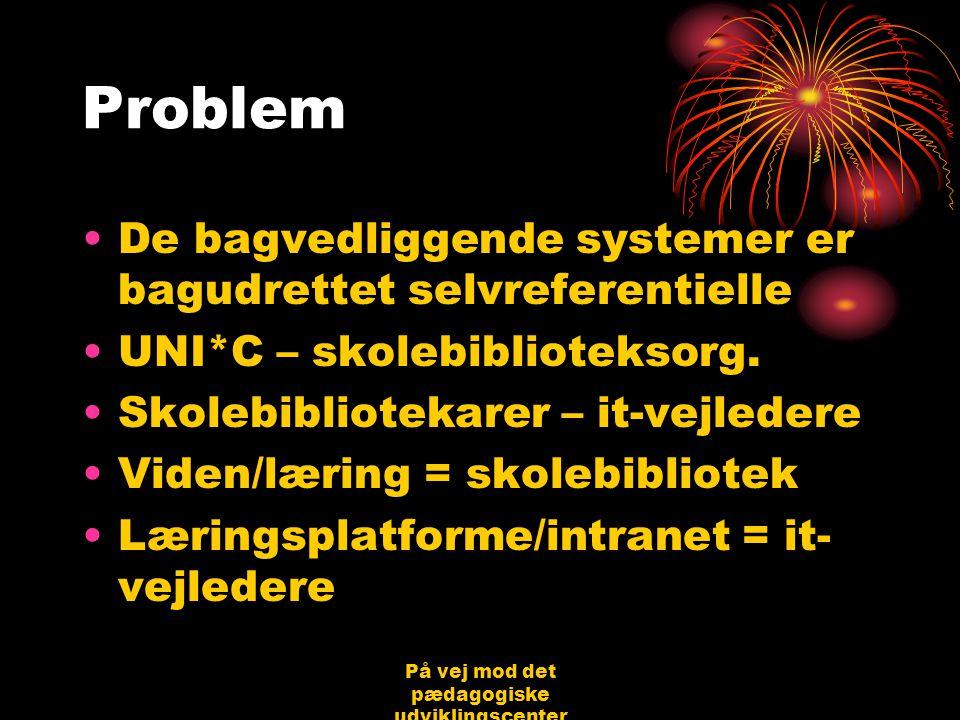 På vej mod det pædagogiske udviklingscenter Bjerringbro 31.08.06 Jørgen Schirmer Nielsen Problem •De bagvedliggende systemer er bagudrettet selvreferentielle •UNI*C – skolebiblioteksorg.