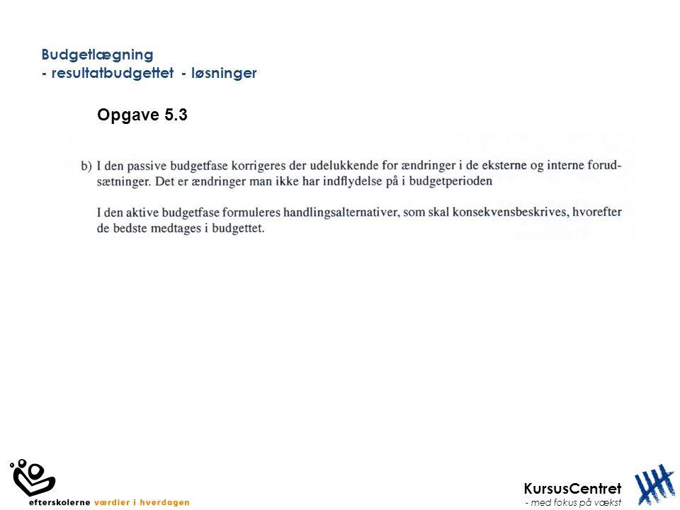 KursusCentret - med fokus på vækst Budgetlægning - resultatbudgettet - løsninger Opgave 5.3