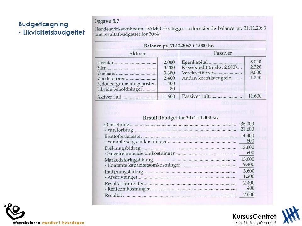 KursusCentret - med fokus på vækst Budgetlægning - Likviditetsbudgettet