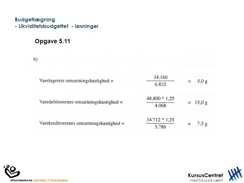 KursusCentret - med fokus på vækst Budgetlægning - Likviditetsbudgettet - løsninger Opgave 5.11
