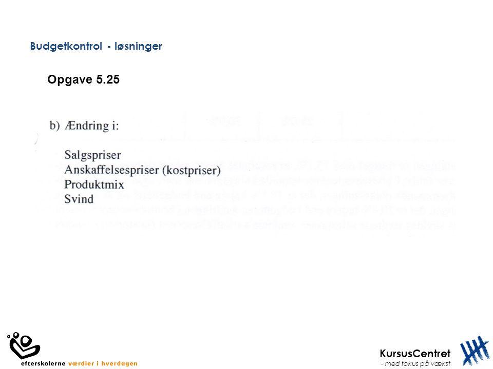 KursusCentret - med fokus på vækst Budgetkontrol - løsninger Opgave 5.25