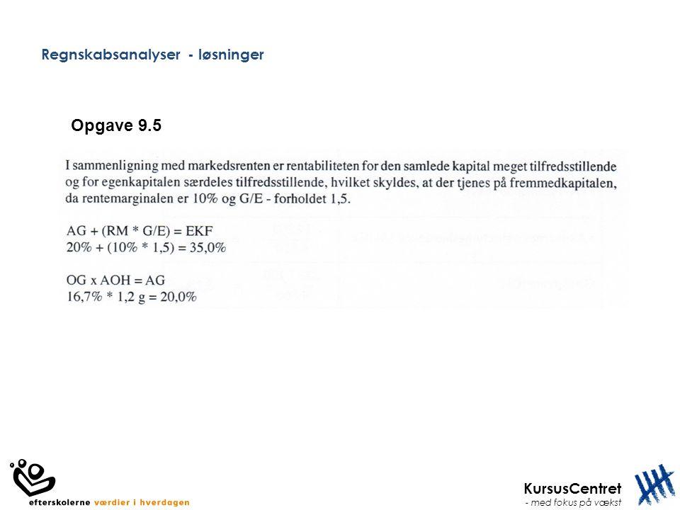 KursusCentret - med fokus på vækst Regnskabsanalyser - løsninger Opgave 9.5