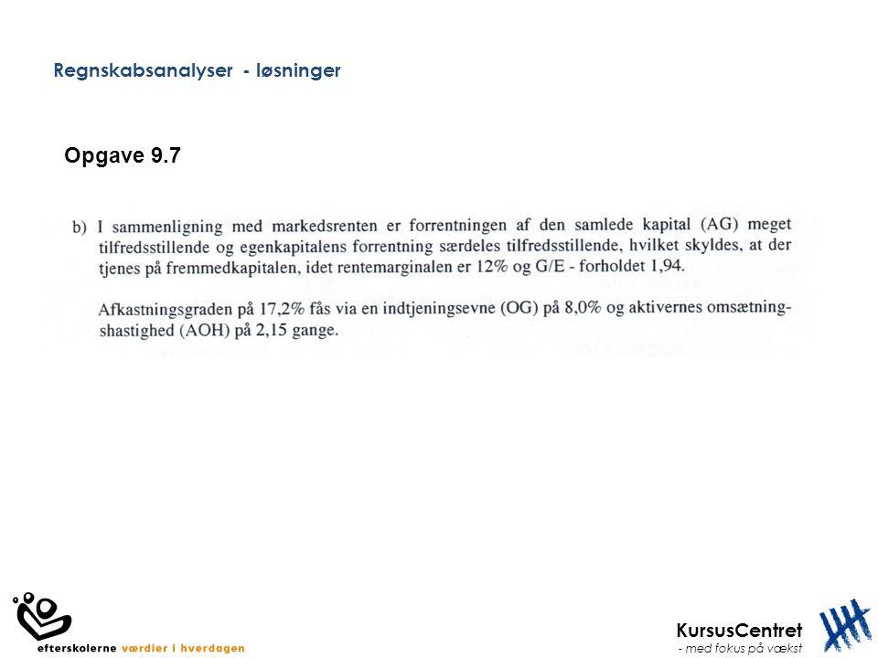 KursusCentret - med fokus på vækst Regnskabsanalyser - løsninger Opgave 9.7