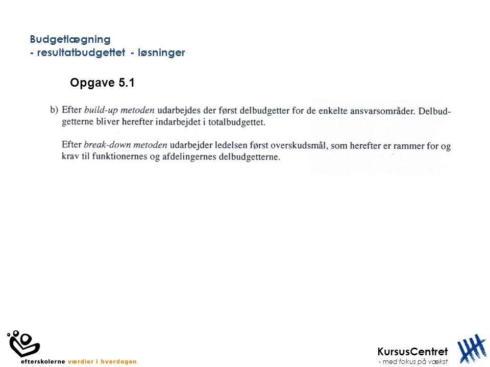 KursusCentret - med fokus på vækst Budgetlægning - resultatbudgettet - løsninger Opgave 5.1