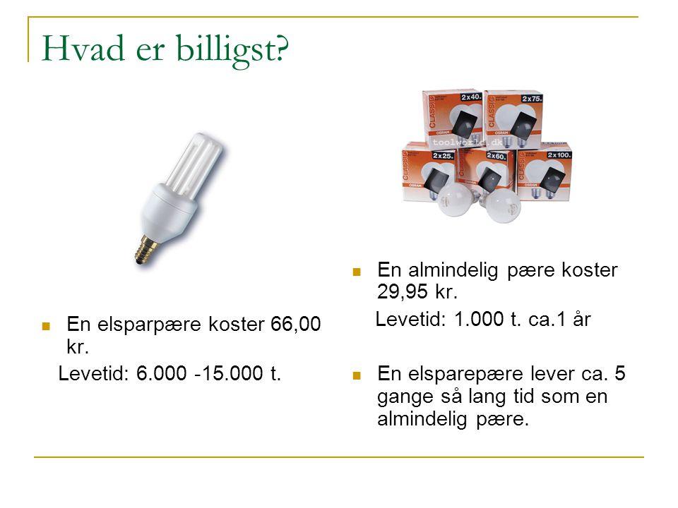 Hvad er billigst.  En elsparpære koster 66,00 kr.