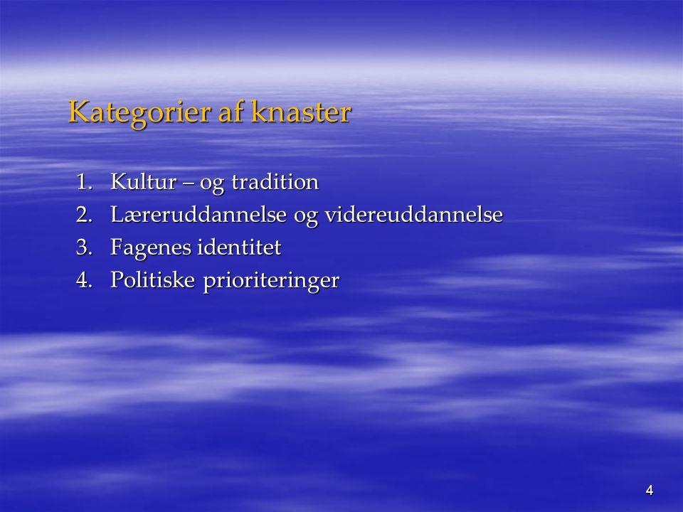 4 Kategorier af knaster 1.Kultur – og tradition 2.Læreruddannelse og videreuddannelse 3.Fagenes identitet 4.Politiske prioriteringer