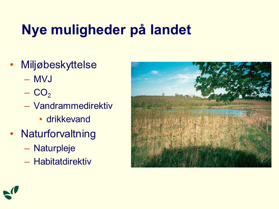 Nye muligheder på landet •Miljøbeskyttelse –MVJ –CO 2 –Vandrammedirektiv •drikkevand •Naturforvaltning –Naturpleje –Habitatdirektiv
