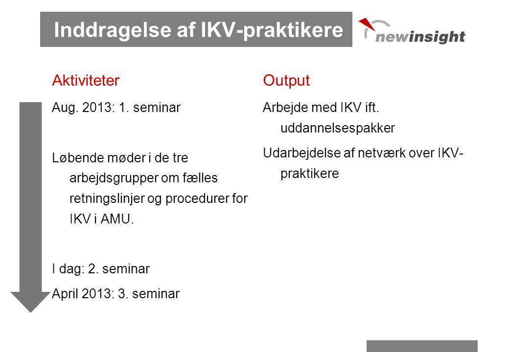 Inddragelse af IKV-praktikere Aktiviteter Aug. 2013: 1.