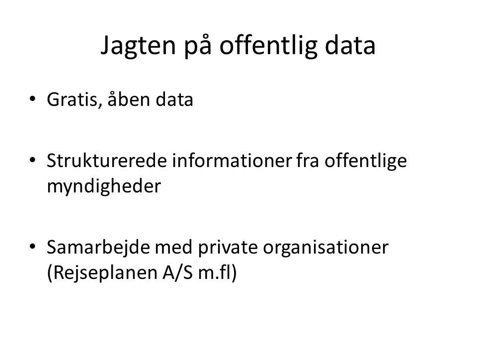 Jagten på offentlig data • Gratis, åben data • Strukturerede informationer fra offentlige myndigheder • Samarbejde med private organisationer (Rejseplanen A/S m.fl)