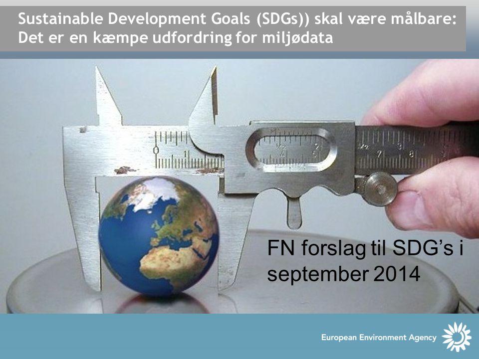 Sustainable Development Goals (SDGs)) skal være målbare: Det er en kæmpe udfordring for miljødata FN forslag til SDG's i september 2014