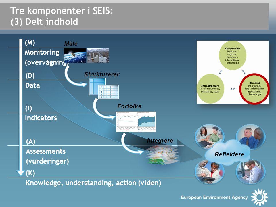 Tre komponenter i SEIS: (3) Delt indhold Fortolke Integrere Reflektere (M) Monitoring (overvågning) Strukturerer Måle (D) Data (I) Indicators (A) Assessments (vurderinger) (K) Knowledge, understanding, action (viden)