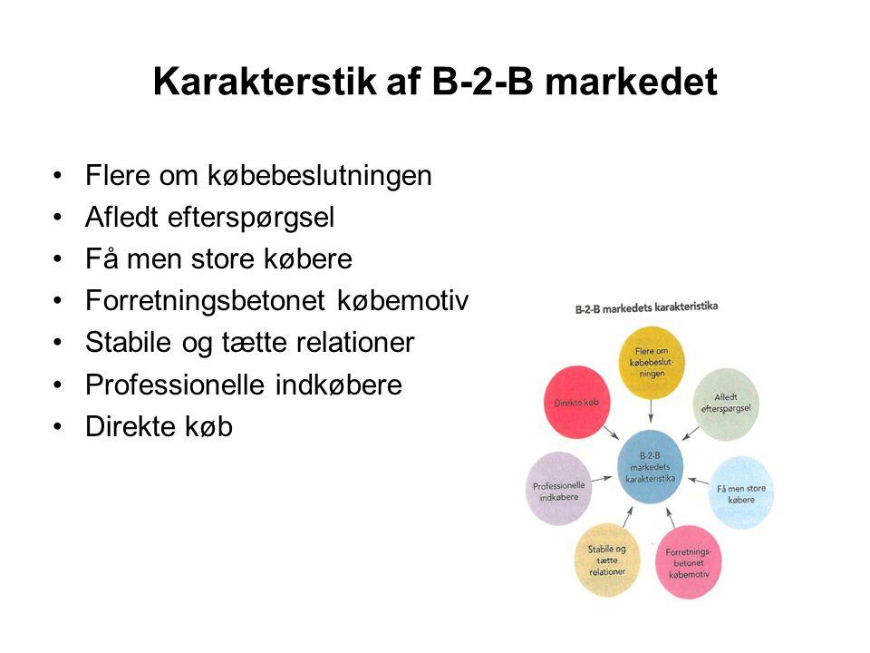 Karakterstik af B-2-B markedet •Flere om købebeslutningen •Afledt efterspørgsel •Få men store købere •Forretningsbetonet købemotiv •Stabile og tætte r