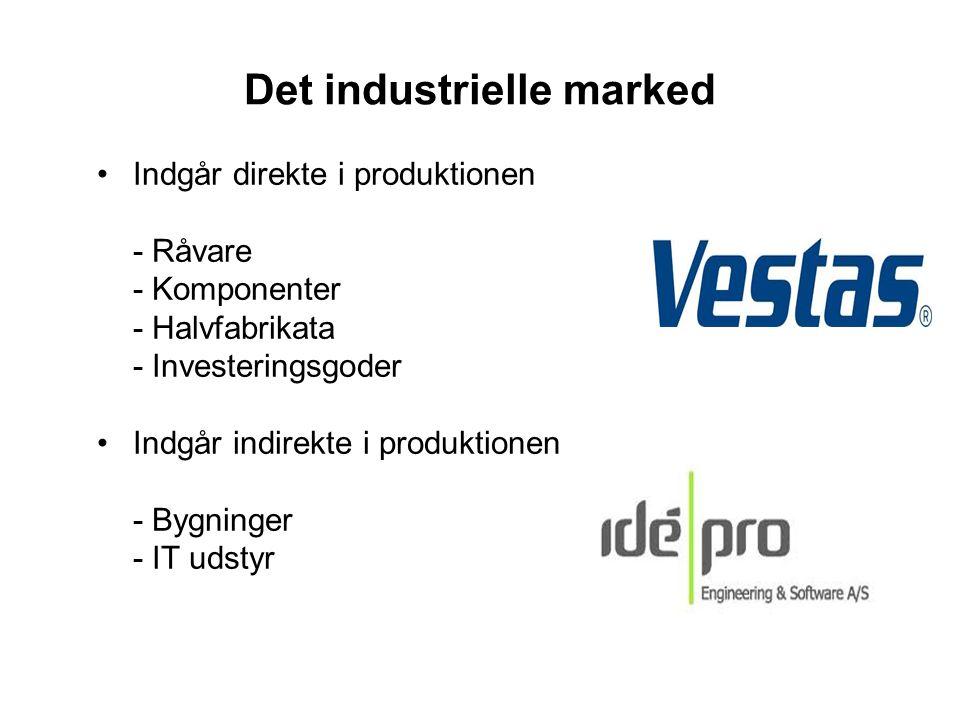 Det industrielle marked •Indgår direkte i produktionen - Råvare - Komponenter - Halvfabrikata - Investeringsgoder •Indgår indirekte i produktionen - B
