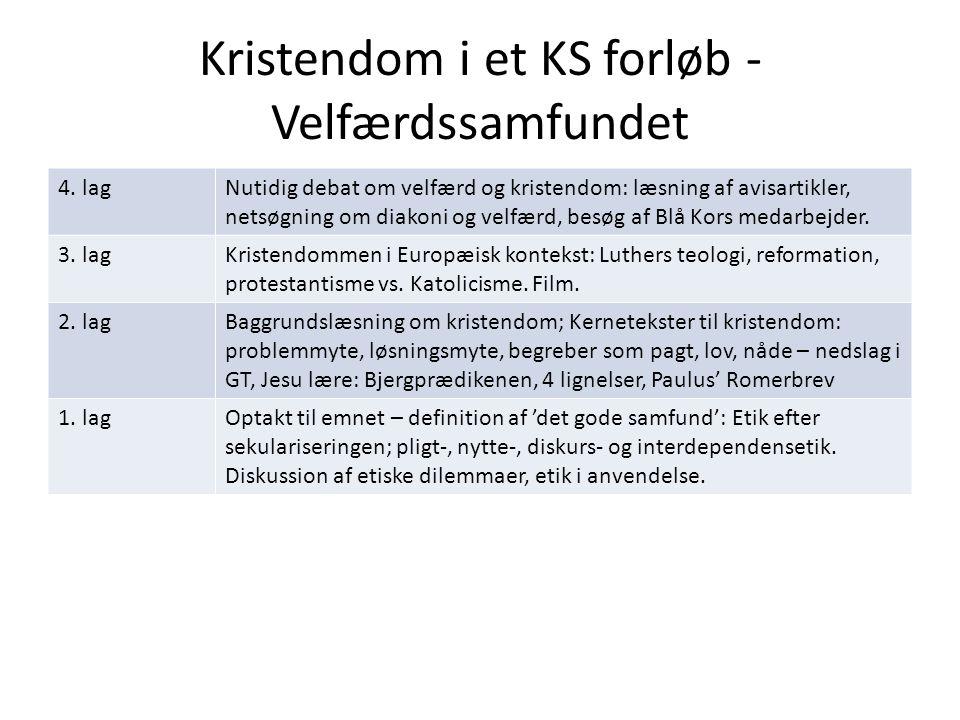 Kristendom i et KS forløb - Velfærdssamfundet 4.