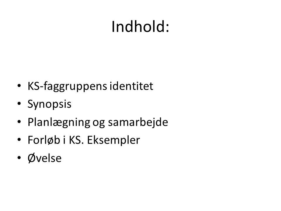 Indhold: • KS-faggruppens identitet • Synopsis • Planlægning og samarbejde • Forløb i KS.