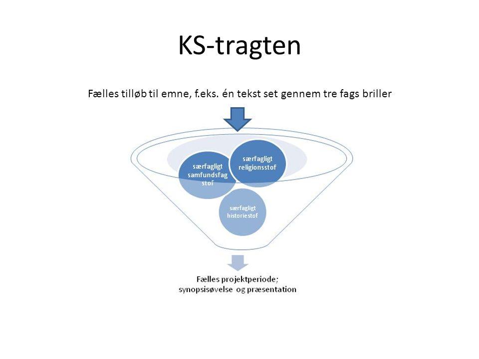 KS-tragten Fælles tilløb til emne, f.eks. én tekst set gennem tre fags briller